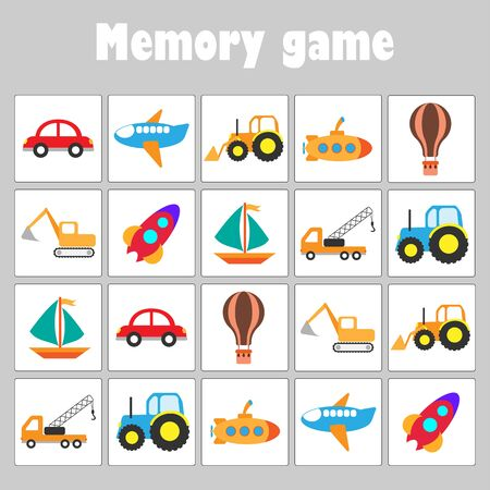 Memory game with pictures - different transport for children, fun education game for kids, preschool activity, task for the development of logical thinking, vector Иллюстрация