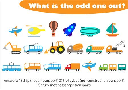 What is the odd one out for children, transport in cartoon style, fun education game for kids, preschool worksheet activity, task for the development of logical thinking, vector Иллюстрация