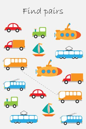 Find pairs of identical pictures, fun education game with transport for children, preschool worksheet activity for kids, task for the development of logical thinking, vector Иллюстрация