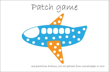 Education Patch game plane for children to develop motor skills, use plasticine patches, buttons, colored paper or color the page, kids preschool activity, printable worksheet, vector Иллюстрация