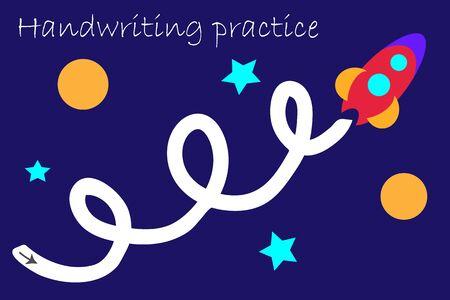 Draw track of rocket, handwriting practice sheet, kids preschool activity, educational children game, printable worksheet, writing training, vector Иллюстрация