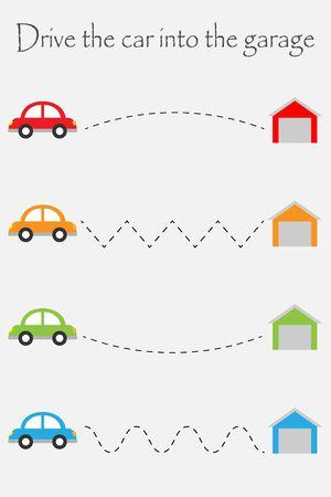 Drive cars to garages, handwriting practice sheet, kids preschool activity, educational children game, printable worksheet, writing training, vector Иллюстрация