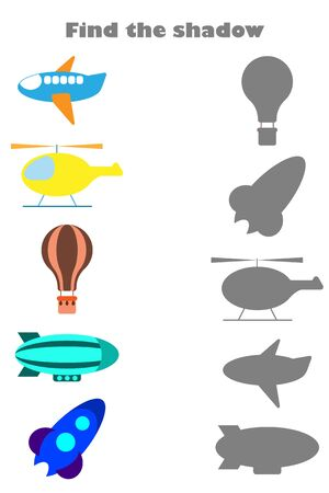 Find the shadow game with pictures of air transport for children, education game for kids, preschool worksheet activity, task for the development of logical thinking, vector