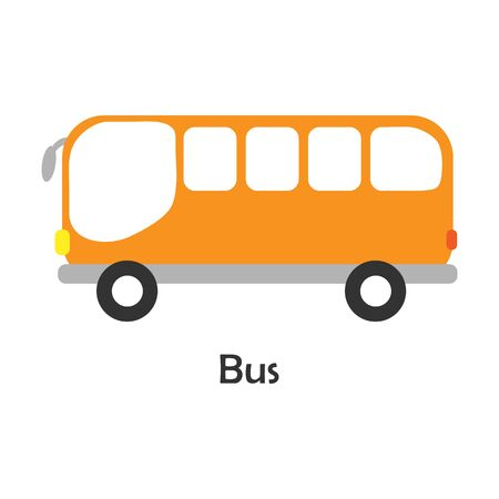 Bus in cartoon style, card with transport for kid, preschool activity for children, vector Vector Illustration