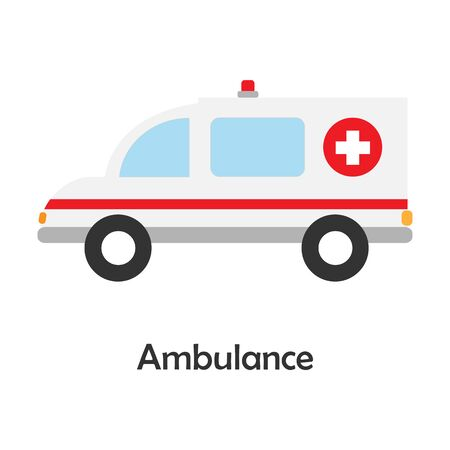 Ambulance in cartoon style, card with transport for kid, preschool activity for children, vector Vector Illustration