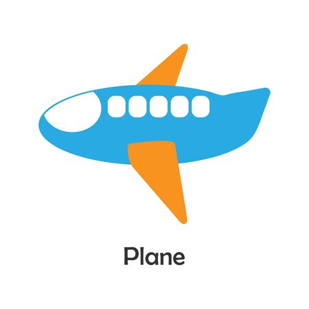 Plane in cartoon style, card with transport for kid, preschool activity for children, vector