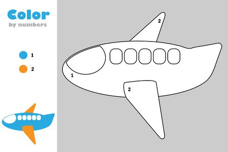 Plane in cartoon style, color by number, education paper game for the development of children, coloring page, kids preschool activity, printable worksheet, vector Иллюстрация
