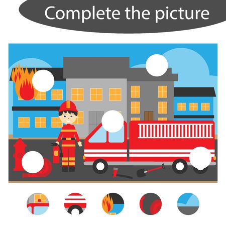 Complete the puzzle and find the missing parts of the picture, fireman fun education game for children, preschool worksheet activity for kids, task for the development of logical thinking