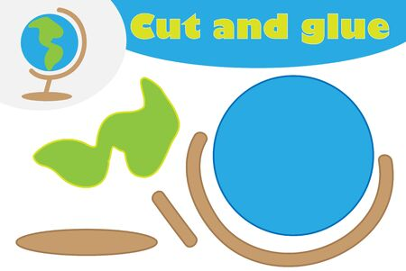 Globe in cartoon style, education game for the development of preschool children, use scissors and glue to create the applique, cut parts of the image and glue on the paper, vector