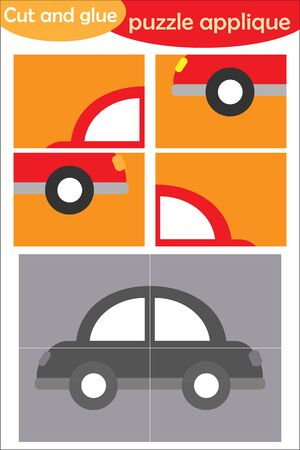 Car in cartoon style, education puzzle game for development of preschool children, use scissors and glue to create the applique, cut parts of the image and glue on paper, vector