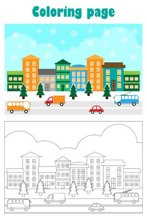 Christmas picture with snowy city in cartoon style, xmas coloring page, education paper game for the development of children, kids preschool activity, printable worksheet, vector