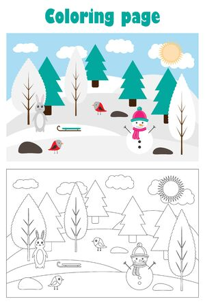 Christmas picture with snowy forest in cartoon style, xmas winter coloring page, education paper game for the development of children, kids preschool activity, printable worksheet, vector