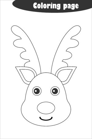 Deer in cartoon style, coloring page, christmas education paper game for the development of children, kids preschool activity, printable worksheet, vector