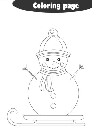 Snowman in cartoon style, coloring page, christmas education paper game for the development of children, kids preschool activity, printable worksheet, vector