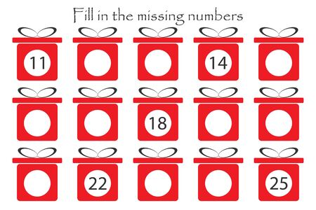 Game with christmas gifts for children, fill in the missing numbers, middle level, education game for kids, school worksheet activity, task for the development of logical thinking,