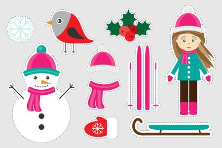 Different colorful winter christmas pictures for children, fun education game for kids, preschool activity, set of stickers, vector