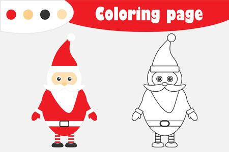 Santa Claus in cartoon style, christmas coloring page, education paper game for the development of children, kids preschool activity, printable worksheet, vector