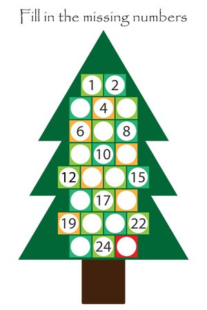 Game with christmas tree for children, fill in the missing numbers, advent calendar, education game for kids, school worksheet activity, task for development of logical thinking, vector