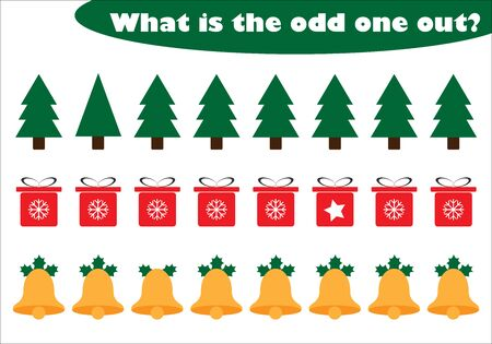 What is the odd one out for children, christmas theme in cartoon style, fun education game for kids, preschool worksheet activity, task for the development of logical thinking, vector