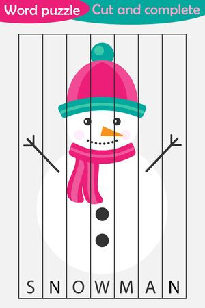 Word puzzle, snowman in cartoon style, christmas education game for development of preschool children, use scissors, cut parts of the image and complete the picture, vector