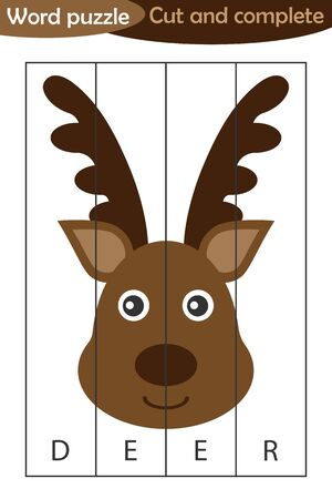 Word puzzle, xmas deer in cartoon style, christmas education game for development of preschool children, use scissors, cut parts of the image and complete the picture, vector Иллюстрация