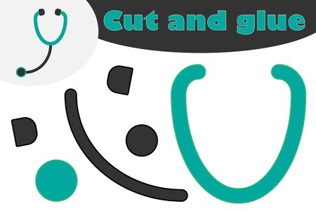 Stethoscope in cartoon style, education game for the development of preschool children, use scissors and glue to create the applique, cut parts of the image and glue on the paper, vector
