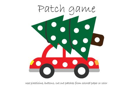 Education Patch game tree on car for children to develop motor skills, use plasticine patches, buttons, colored paper or color the page, kids preschool activity, printable worksheet, illustration Illustration