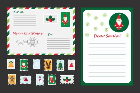 Christmas set of letter to Santa Claus, envelope and postage stamps for children, fun preschool activity for kids, vector Çizim