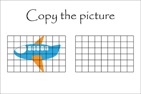 Copy the picture, plane in cartoon style, drawing skills training, educational paper game for the development of children, kids preschool activity, printable worksheet, vector