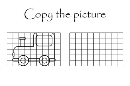 Copy the picture, black white locomotive, drawing skills training, educational paper game for the development of children, kids preschool activity, printable worksheet, vector