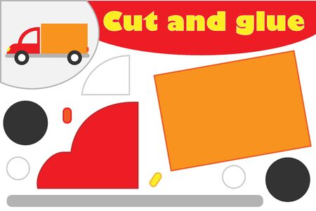 Truck in cartoon style, education game for the development of preschool children, use scissors and glue to create the applique, cut parts of the image and glue on the paper, vector