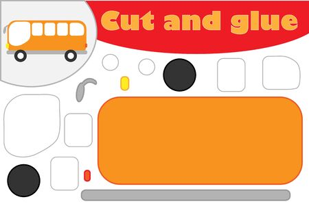 Bus in cartoon style, education game for the development of preschool children, use scissors and glue to create the applique, cut parts of the image and glue on the paper, vector Иллюстрация