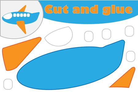 Plane in cartoon style, education game for the development of preschool children, use scissors and glue to create the applique, cut parts of the image and glue on the paper, vector