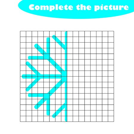 Complete the picture, snowflake in cartoon style, drawing skills training, educational paper game for the development of children, kids preschool activity, printable worksheet, vector