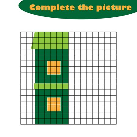 Complete the picture, house in cartoon style, drawing skills training, educational paper game for the development of children, kids preschool activity, printable worksheet, vector