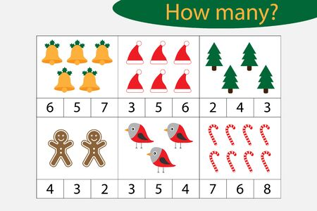 How many counting game with christmas pictures for kids, educational maths task for the development of logical thinking, preschool worksheet activity, count and choose the result, vector