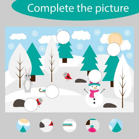 Complete the puzzle and find the missing parts of the picture, winter fun education game for children, preschool worksheet activity for kids, task for development of logical thinking, vector