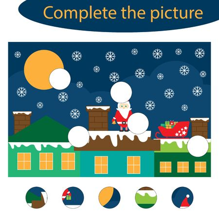 Complete the puzzle and find the missing parts of the picture, christmas fun education game for children, preschool worksheet activity for kids, task for development of logical thinking, vector