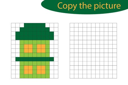 Copy the picture, pixel art, house cartoon, drawing skills training, educational paper game for the development of children, kids preschool activity, printable worksheet, vector Ilustracja