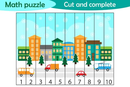 Math puzzle, christmas picture with snowy city in cartoon style, education game for development of preschool children, use scissors, cut parts of the image and complete the picture, vector