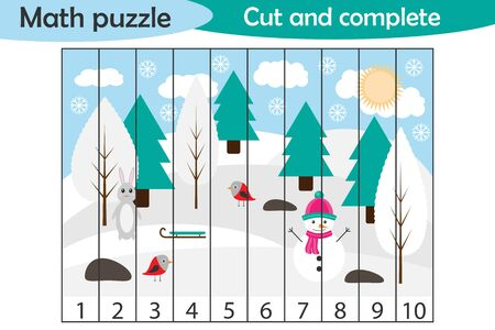 Math puzzle, xmas picture with snowy forest in cartoon style, education game for development of preschool children, use scissors, cut parts of the image and complete the picture, vector