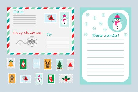 Christmas set of letter to Santa Claus, envelope and postage stamps for children, xmas fun preschool activity for kids, vector