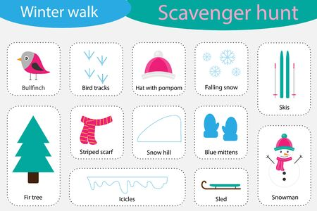 Scavenger hunt, winter walk, different colorful pictures for children, fun education search game for kids, development for toddlers, preschool activity, set of icons, vector Иллюстрация