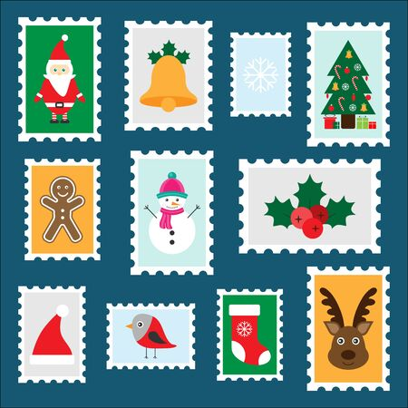 Different colorful christmas stamps for children, fun preschool activity for kids, letter to Santa Claus, set of stickers, vector Ilustração