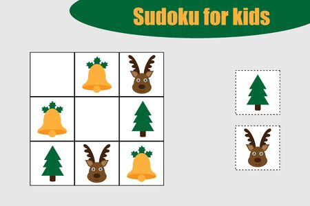 First Sudoku game with christmas pictures for children, easy level, education game for kids, preschool worksheet activity, task for the development of logical thinking, vector
