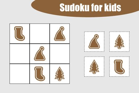 First Sudoku game with christmas pictures - gingerbread for children, easy level, education game for kids, preschool worksheet activity, task for development of logical thinking, vector