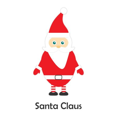 Santa Claus in cartoon style, christmas card for kid, preschool activity for children, vector Illustration