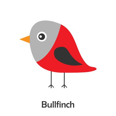 Bullfinch in cartoon style, christmas card for kid, preschool activity for children, vector Illustration
