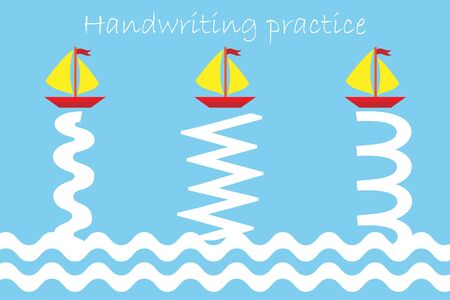 Draw track of ships and waves, handwriting practice sheet, kids preschool activity, educational children game, printable worksheet, writing training, vector