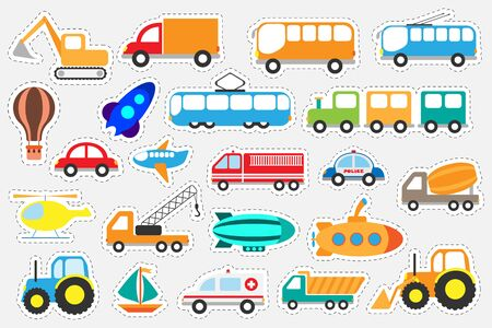 Different colorful transport for children, fun education game for kids, preschool activity, set of stickers, vector